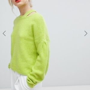 ASOS Sweater with Volume Sleeve and Cut Out Neck